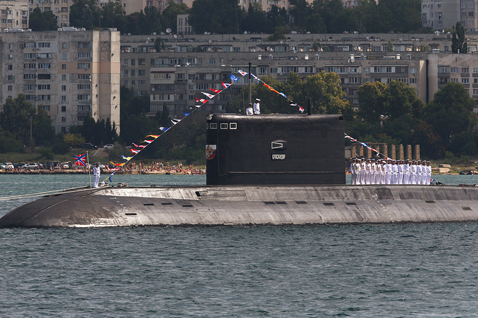 Krasnodar, a Project 636.3 Varshavyanka diesel-electric submarine, takes part in the dress rehearsal of a parade marking the Day of the Russian Navy in Sevastopol