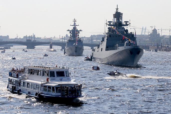 Warships taking part in a main naval parade in Saint Petersburg