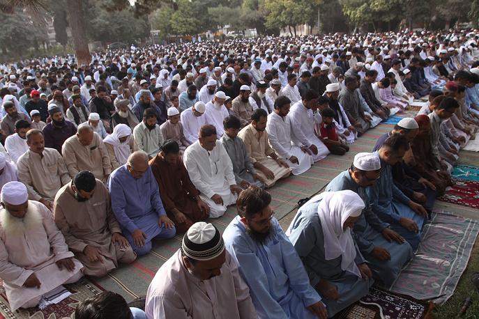 Pakistani Muslims pray in Quetta, Pakistan