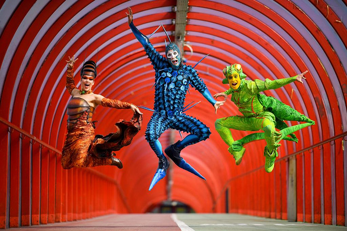 The cast of Cirque du Soleils OVO pose during a photo call ahead of their premiere performance at the SSE Hydro in Glasgow, September 9