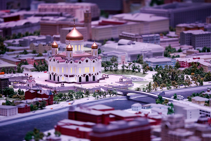 A light show titled The History of Moscow at the Model of Moscow Pavilion of the VDNKh Exhibition Center