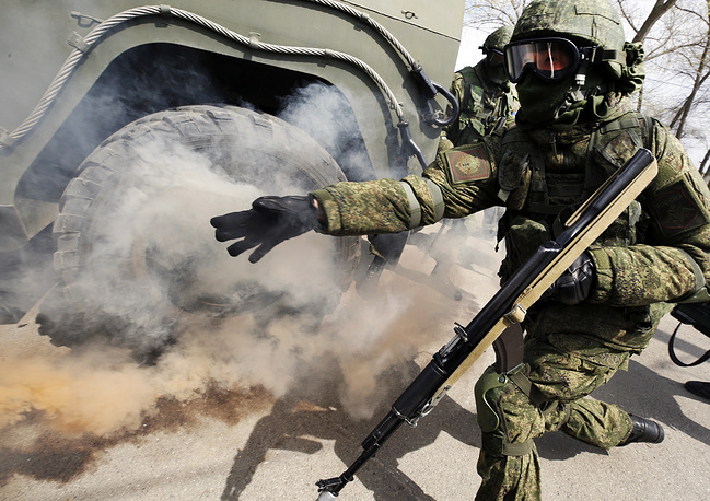 Special service brigade soldiers take part in anti-terror drills in Rostov region
