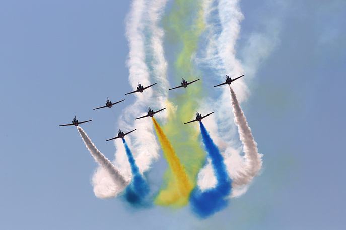 """China's K-8 aircraft from the Aerobatic Team """"Hongying"""", meaning Red Eagle, of Chinese People's Liberation Army Air Force"""