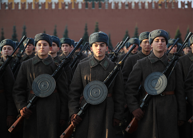 Participants of the march commemorating the legendary military parade of November 7, 1941 on Red Square