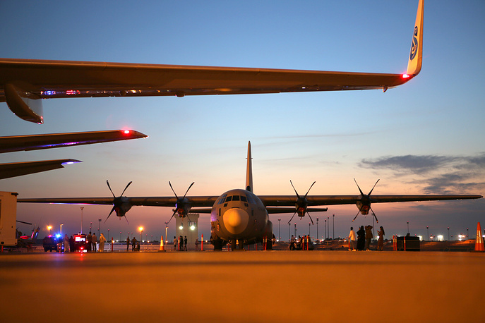 An American Lockheed C-130 military transport aircraft