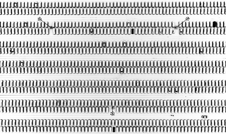 An aerial view of the Renault Russia car factory parking space, Moscow, November 28