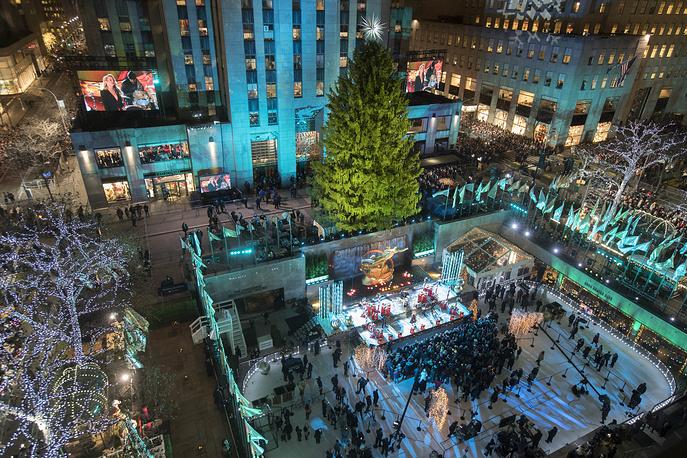 Rockefeller Center Christmas tree lighting ceremony in New York, USA