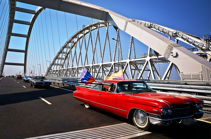 Participants of the Bridge, the first Crimean vintage car festival, cross Crimean Bridge on their way from Moscow to Yalta celebrating its 180th anniversary