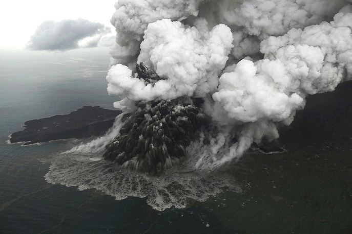Mount Anak Krakatau erupting on Java Strait, Indonesia, December 23. A deadly tsunami followed an eruption and struck the coasts of Java and Sumatra
