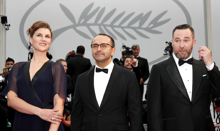Director Andrey Zvyagintsev, actress Maryana Spivak and actor Alexeyv Rozin at the screening of 'Loveless' during the 70th annual Cannes Film Festival, 2017