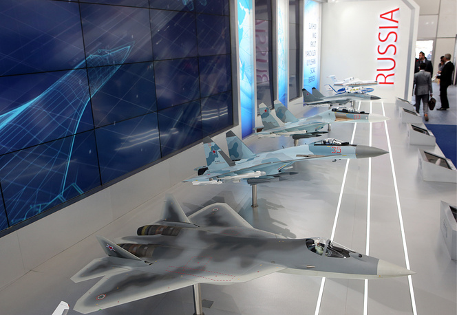 Aircraft models on display at the United Aircraft Corporation (UAC) stand at the Aero India exhibition