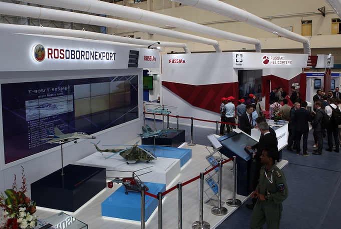 Rosoboronexport and the Russian Helicopters stand at the 12th edition of Aero India