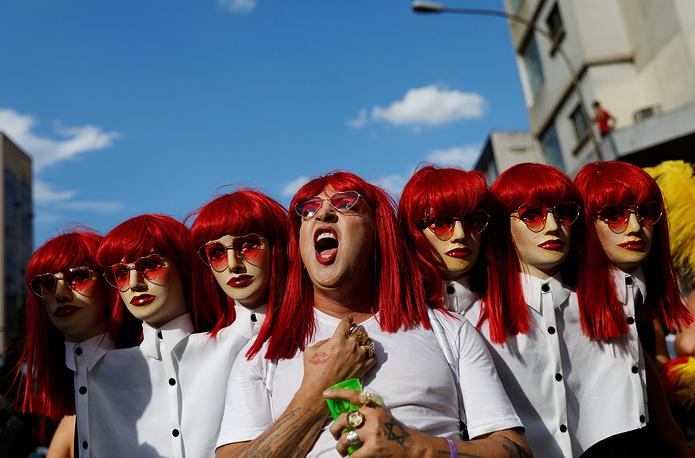 "A reveller takes part in an annual block party known as ""Academicos do Baixa Augusta"" (Academics of Baixa Augusta neighbourhood ), during carnival festivities in Sao Paulo, February 24"