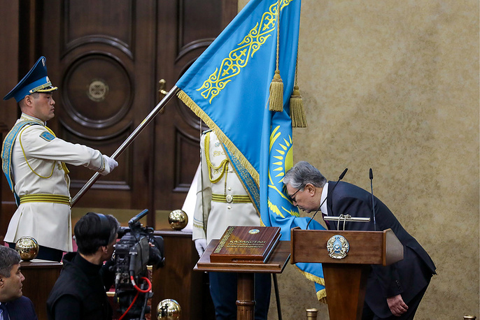 Kazakhstan's President Kassym-Jomart Tokayev taking the oath of office during an inauguration ceremony at a meeting of Kazakhstan's parliament, Astana, March 20. Kazakhstan's longtime leader Nursultan Nazarbayev resigned unexpectedly on March 19