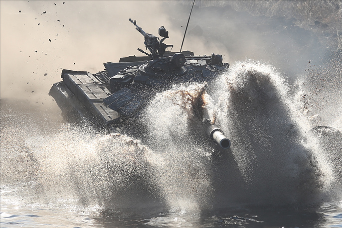 Crew of a T-72B3 tank competes in a regional stage of the 2019 Tank Biathlon Competition, Chelyabinsk region,  April 15