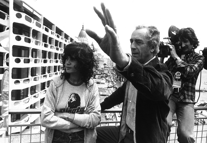 French actress Maria Schneider with Italian director Michelangelo Antonioni at the Cannes Film Festival, 1975