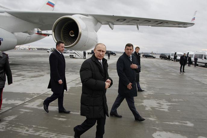 Президент РФ Владимир Путин прибыл в аэропорт Екатеринбурга