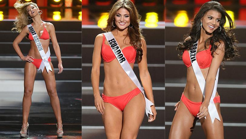 Мисс Великобритания, Мисс Эквадор, Мисс Бразилия. Фото EPA/SERGEI ILNITSKY