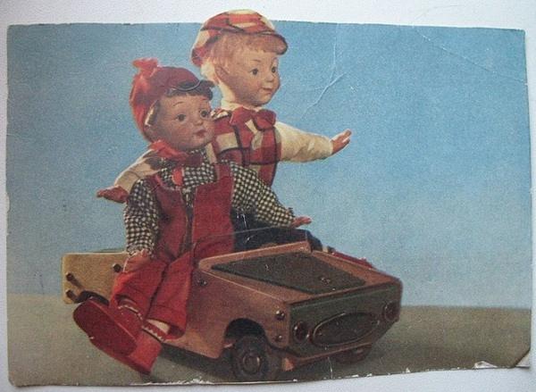"""Куклы Шустрик и Мямлик, художник Е.Борисова, фабрика """"Художественная игрушка"""""""