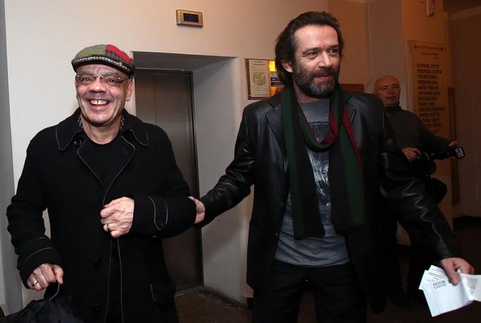 Константин Райкин и Владимир Машков на праздновании 70-летия Школы-студии МХАТ