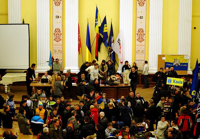 Захват мэрии Киева сторонниками евроинтеграции Украины