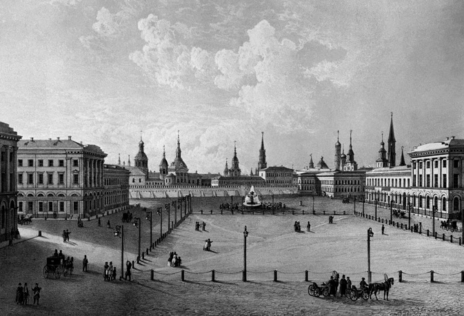 """Вид Театральной площади со стороны Большого театра"""", 1840-е годы"""