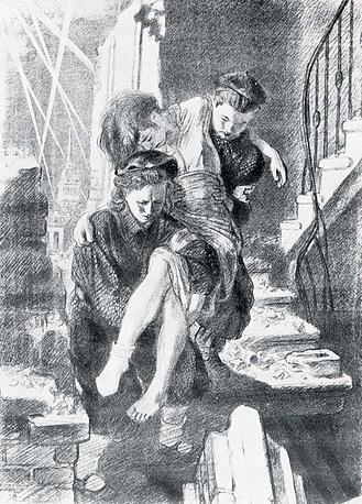 """Литография Алексея Пахомова """"В очаге поражения"""". 1942."""