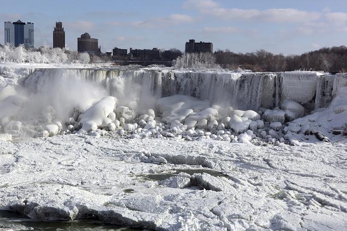 Вид на Ниагарский водопад, покрытый льдами