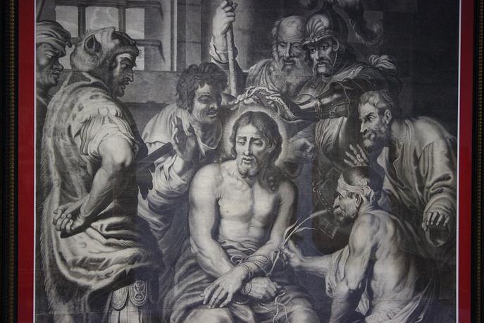 """""""Поругание Христа. Коронование тернием"""". Франсуа Ланго  (оригинал Ван Дейка погиб во время Второй мировой войны). Французская школа. Париж, 1641-1679 гг."""