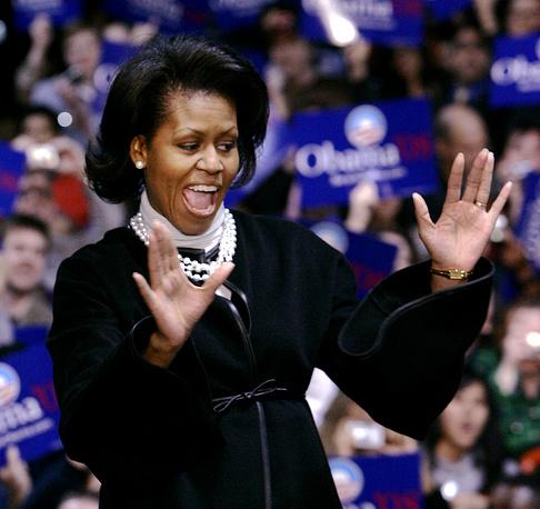 Мишель Обама активно принимала участие в избирательной кампании Барака Обамы в 2007-2008 гг.