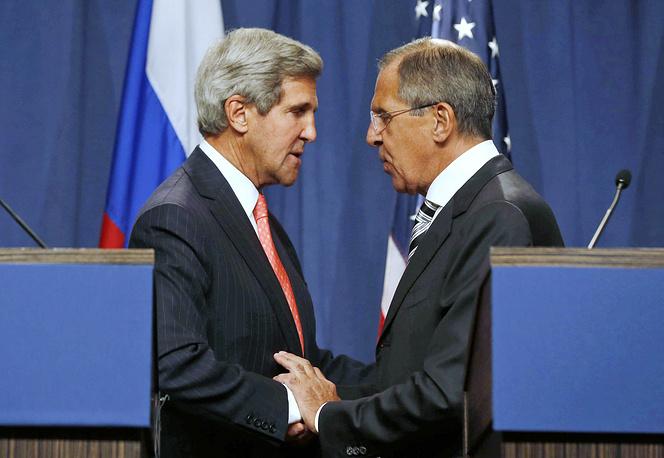 14 сентября 2013 г. в Женеве министр иностранных дел РФ Сергей Лавров и госсекретарь США Джон Керри достигли договоренности по уничтожению в Сирии химоружия