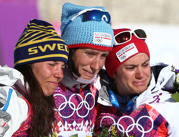 Шведка Шарлотта Калла, норвежка Марит Бьорген и норвежка Хайди Вен