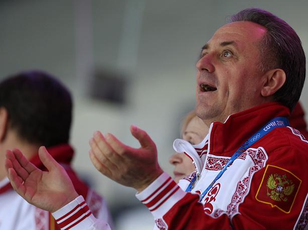 Министр спорта РФ Виталий Мутко на матче группового этапа по хоккею между Россией и Словенией