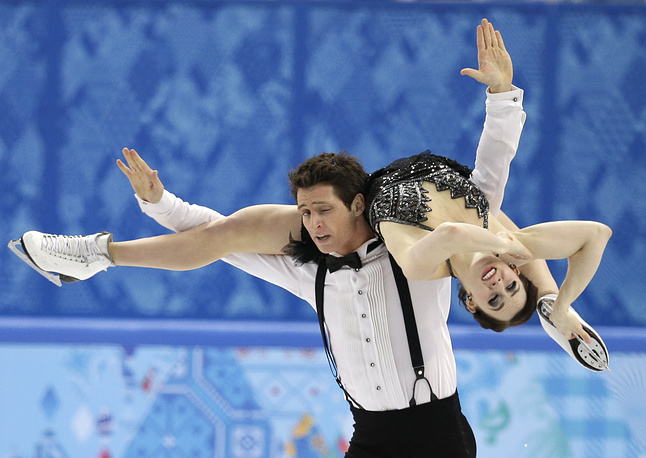 На втором месте расположились олимпийские чемпионы-2010 канадцы Тесса Вирчу и Скотт Мойр (76.33)