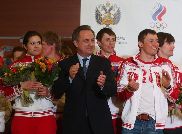 Серебряный призер Олимпийских игр в санном спорте Татьяна Иванова и министр спорта РФ Виталий Мутко