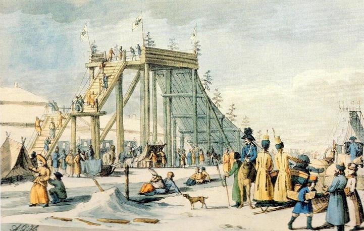 Ледяные горы на Неве.  А. Г. Убиган с гравюры 1803 г. Д. А. Аткинсона.  1817 г.