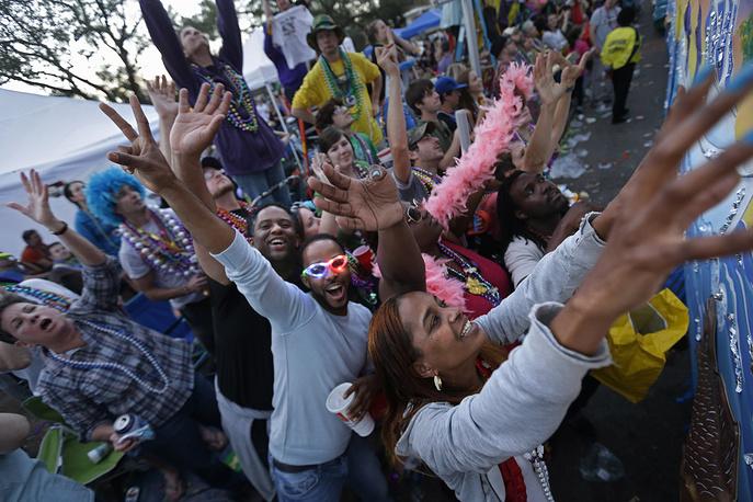 В Новом Орлеане во вторник прошел знаменитый праздник-карнавал Марди-Гра