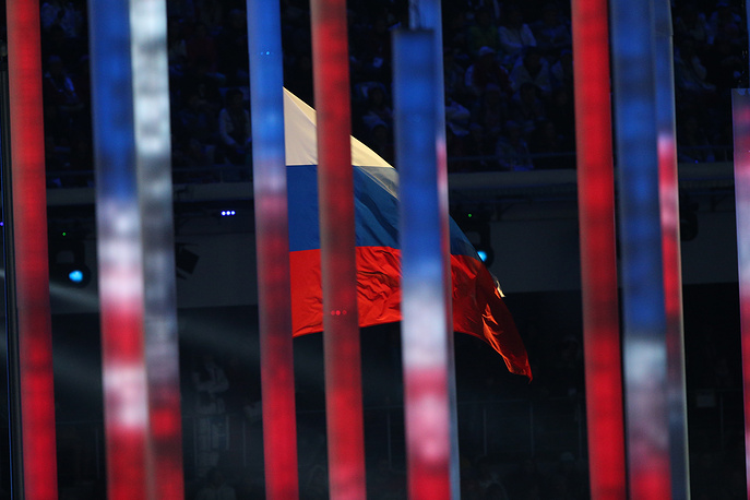"""На арене """"Фишт"""" завершилось первое действие церемонии открытия Паралимпийских игр, и начался парад спортсменов, которые выходили на стадион в порядке русского алфавита"""