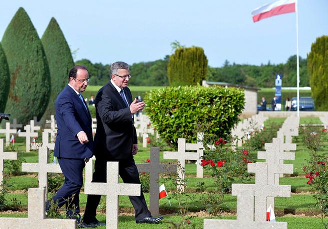 Президент Польши Бронислав Коморовский и прездент Франции Франсуа Олланд