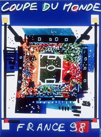 Плакат ЧМ-1998 во Франции. Хозяева турнира впервые в истории завоевали титул, обыграв в финале сборную Бразилии - 3:0