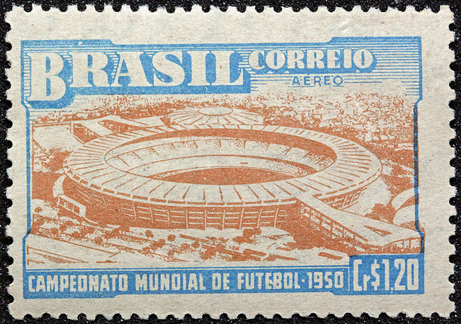 """Стадион """"Маракана"""" на почтовой марке, выпущенной к чемпионату мира-1950"""