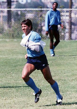 Гари Линекер (Англия) - 10 голов. Фото сделано во время подготовки к чемпионату мира-1986 в Мексике