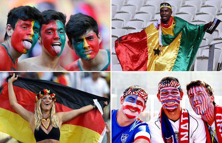 Болельщики из Португалии, Ганы, Германии и США