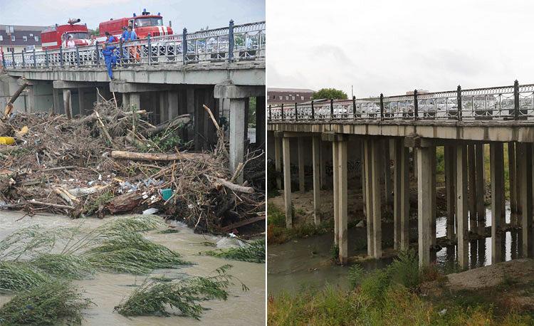 Мост на реке Адагум во время и после наводнения