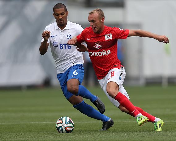 Динамовец Вильям Ванкер и спартаковец Денис Глушаков (слева направо)