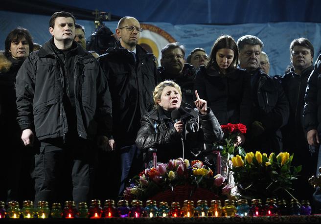 """В тот же день была освобождена из заключения лидер """"Батькивщины"""" Юлия Тимошенко, которая позднее выступила на площади Независимости"""