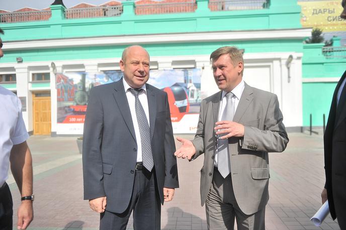 Начальник Западно-Сибирской железной дороги Анатолий Регер и мэр Новосибирска Анатолий Локоть (слева направо)