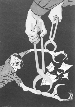 """Плакат Кукрыниксов """"Клещи в клещи"""". """"Окно ТАСС"""" № 323, 1941 год. Этот плакат Николай Соколов (Кукрыниксы) разработал в одиночку, находясь в эвакуации"""