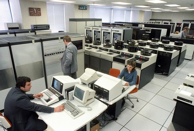 Центральный зал автоматизированной системы обработки сообщений ТАСС, 1988 год