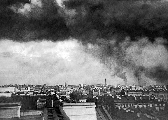 Пожары в Ленинграде после первого артиллерийского обстрела, 8 сентября 1941 года